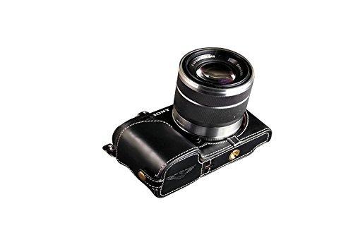 ソニー NEX-7 (NEX7)用本革カメラケース(電池,SDカード交換可) ブラック B07TGSZS2T カメラケース FreeSize