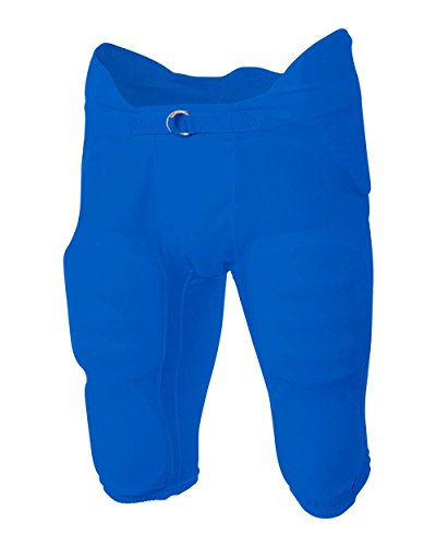 A4 Sportswear Youth 2X (Waist 36/Inseam 13) Royal Blue Football Pants Flyless, Integrated 7-Piece Pads ()
