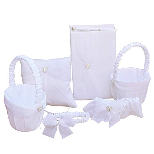 Guest Wedding Ribbon Book (Awtlife 6 Sets Wedding Flower Girl Basket Guest Book Pen with Ring Pillow and Garter)