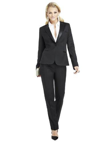Women's Marlowe Peak Collar Wool Tuxedo Jacket by Dessy Group - Black - Size 18 by After Six