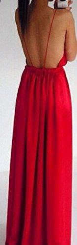 Frauen Abendmode Kleid Lang Elegant Trägertop Tiefem V-Ausschnitt Trägerlos Rückenfrei Irregular Geöffnete Gabel Loose Slim Fit Maxikleid Strandkleid Rot