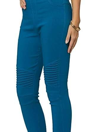 High Waisted Moto Jeggings for Women - Premium Cotton Blend Jean Leggings - Teal - Small - Medium