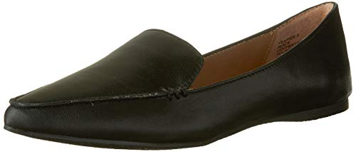 Steve Madden Women's Feather Loafer Flat, Black Leather, 11 M US