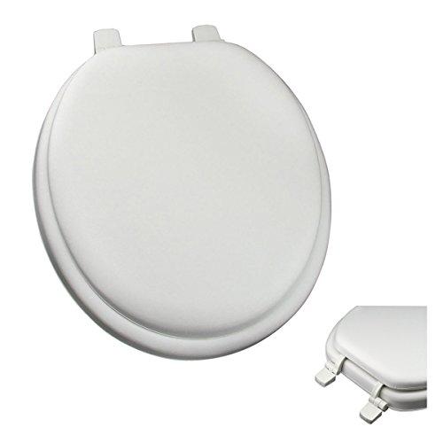 Deluxe White Round Soft Cushion Toilet Seat - Anti-Microbial