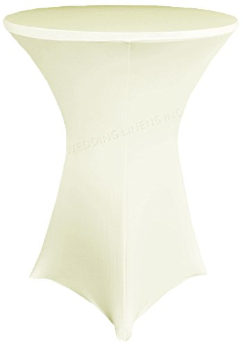 Wedding Linens Inc. Wholesale (200 GSM) 30 in x 42 in Cocktail Highboy Spandex Stretch Fitted Round Table Cover Tablecloths Ivory