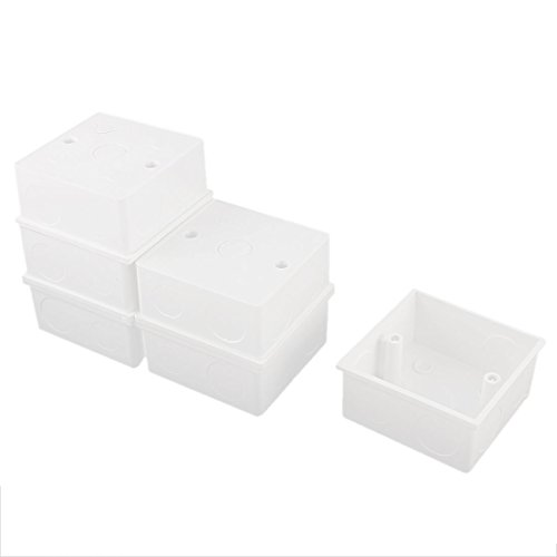 uxcell 6pcs 86x86x39mm White PVC Single Gang Mount Back Box for Wall Socket - Mount Back Box