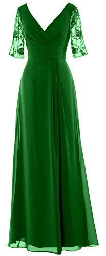 Gown V Half Of Evening Sleeves Dress Macloth Women Neck Mother Green Formal Long Bride vmN0O8nw