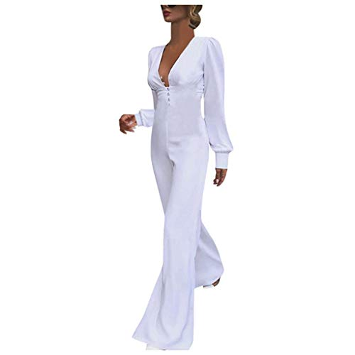 jiumoji Women Elegant Plain Casual Playsuit Button Long Sleeve Deep V-Neck Wide Leg Long Jumpsuit (-White, S)