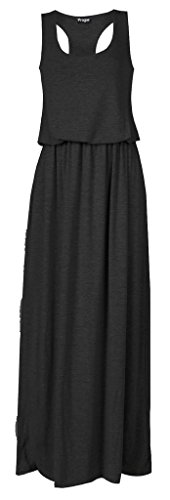[Women Toga Long Vest Maxi Puff Ball Balloon Ladies Dress] (Black Toga Dress)