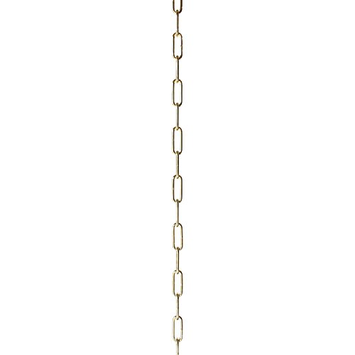 RCH Hardware CH-S59-04-PB 9 Decorative Solid Steel Oval Link Fixture Chain | 1 Foot Increments Finish, 9 Gauge, Polished Brass