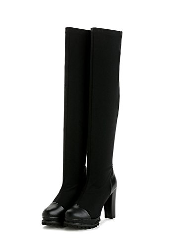For Thin Heel Women's Knee Leather Black High Boots and With Fashion Boots Women JWQWQ YvXnxUnw
