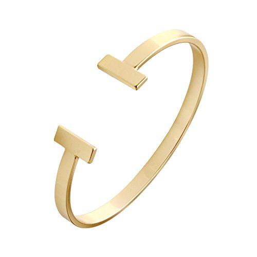 SENFAI Simple Double T Cuff Bracelet/Jewelry Set for Women (Thin Bracelet, Gold-Plated-Brass)