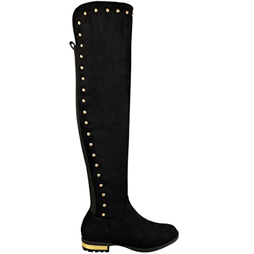Fashion Thirsty Womens Ladies Stretchy Over The Knee Thigh High Boots Stud Low Heel Riding Size Black Faux Suede bM3M6BNn