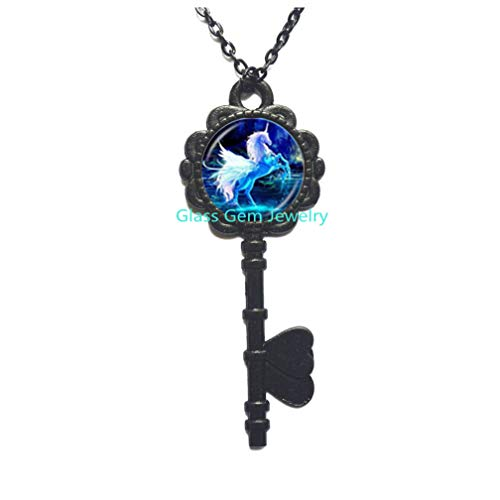 Moonlight Photo (Moonlight Unicorn Photo Key Necklace Horse with Wings Jewelry Glass Cabochon Key Pendant Chain Neckless Women Fashion Jewelry,Q0224)