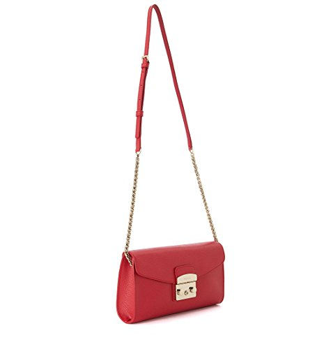 Metropolis With Leather Furla Shoulder Red Bag C1qCfwa