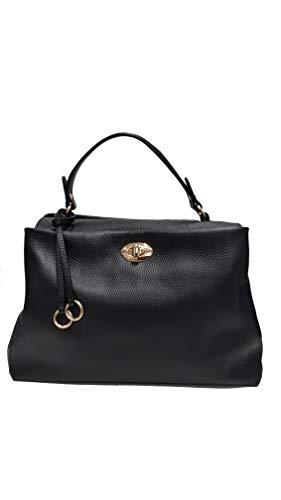 borsa donna elegante chiusa con patta e girello con tracolla regolabile made in italy pelle