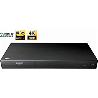 LG UP870 3D Ultra High Definition Blu-Ray 4K Player with Remote Control, HDR Compatibility, Upconvert DVDs, Ethernet, HDMI, USB Port (Black)