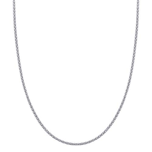 Italian 925 Sterling Silver 2.5mm Popcorn Chain Necklace Antique Finish