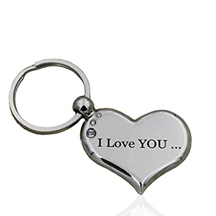 Heart Keychain I Love You to The Moon and Back Best Valentine's Day Gift  for Her Him Both Sides Engraved Couples Keychains for Girlfriend Boyfriend