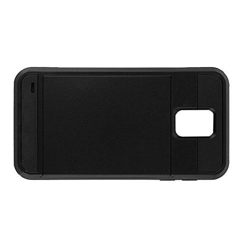 Telefon-Kasten - TOOGOO(R)Karte Tasche Stossfeste Duenne Hybrid Mappe Abdeckung fuer Samsung Galaxy S5 Schwarz