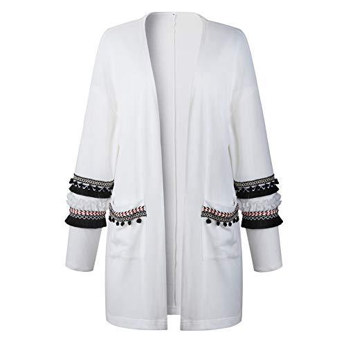 Manches Longue Blouson Manteau Chic Bohme Femmes Cardigan Gilet Tops Tunique Blanc Sweater Outerwear ASSKDAN 80Uwvq