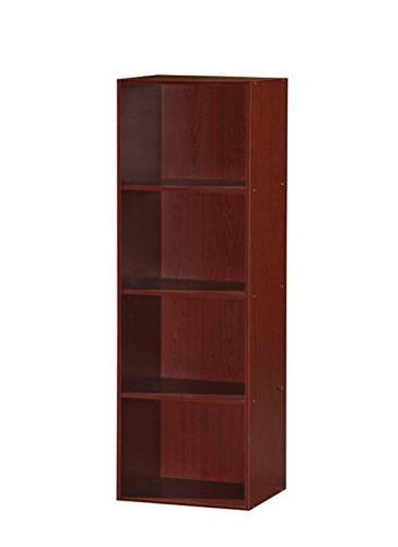 4 Shelf Cherry - Hodedah 4 Shelve Bookcase, Mahogany