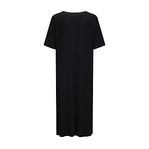 Sleeve Maxi Short Side Basic Shirt T Neck Dress Long V Dress Casual Bewish Women's Split Blouse WBUzfx