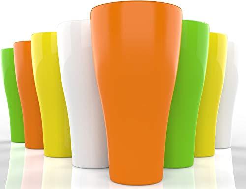 (Plastic Tumblers Drinkware Glasses Set - 17 oz - Set of 8 - Plastic Tumbler Set Large Reusable - Plastic Tumblers Dishwasher Safe Cups - Colorful Break Resistant Beverage Tumblers)