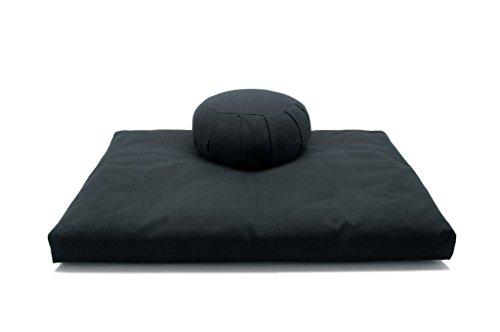Deluxe Zafu & Zabuton 2 Piece Set - Yoga/Meditation Cushions - Made in USA - Buckwheat or Kapok Fill (black, kapok fibers)