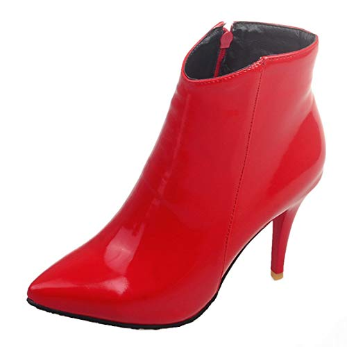Talon Femme Haut Courte Boots Pointu Ankle Zip Bottines Chaussure Aiguille Vernis Bout Ye Botte Rouge Y76bfgy