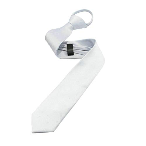 (Idyandyans Men Boys Zipper Tie Solid Pre-Tied Business Skinny Necktie Party Wedding Club Suit Neckwear Slant Stripe Silver White)