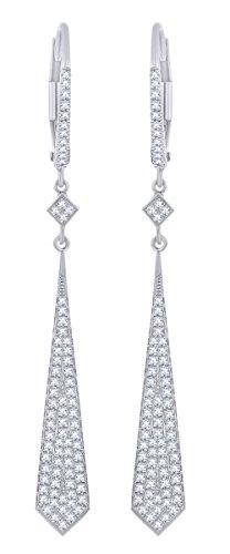 Rount Cut White Natural Diamond Pave Open Arrow-Stiletto Dangle Earring in 14K White Gold (0.43 Ct)