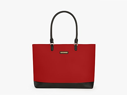 Archer Brighton Isabel Women's Laptop & Tablet Zip Tote, Women's 15.6 & 17 Inch Business Computer Briefcase Bag with Crossbody, Leather Canvas Organizer Handbag Purse for Work, Travel (Red) from Archer Brighton
