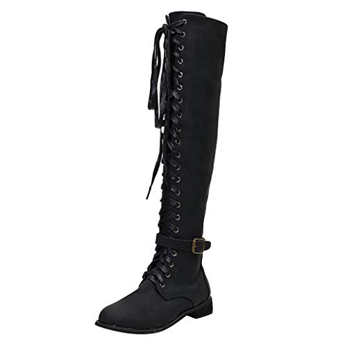 LONGDAY Women Knee High Boots Chunky Block Heel Lace Up Western Shoes Suede Soft Comfy Shoes Booties Black (Belted Flat Over The Knee Moto Boots)