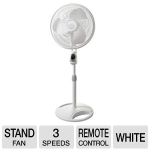 Lasko 16 Inch Oscillating Stand Fan with Remote Control (White) by Lasko