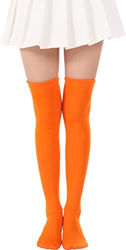 Over Knee Long Stockings Solid Thigh High Socks Opaque Costume Stockings Cosplay Knee-High Socks(00 Orange -