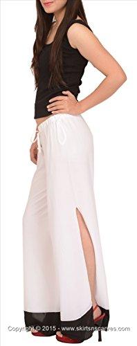 Faldas y bufandas de las mujeres Moss Crepe Pijama/pantalones/pantalones con abertura lateral. Blanco 1