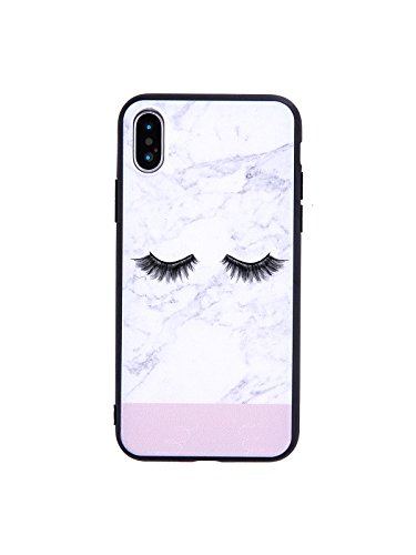 LuGeKe Eyelash Print Phone Case for iPhone X Quality Flexible Crystal Back Cover Case for iPhone Xs Durable and Comfortable]()