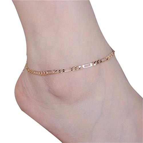 HIRIRI Women Girl Silver Cute Small Plum Flower Heart Chain Anklet Ankle Bracelet Barefoot Sandal Beach Foot (Gold 1)