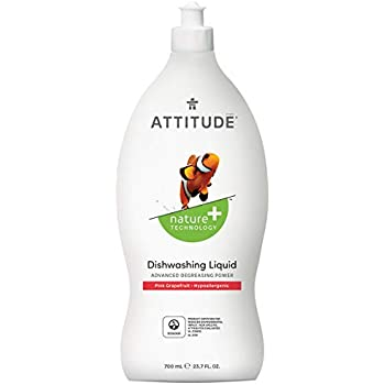 ATTITUDE, Liquid Dish Soap, Non-toxic, Antibacterial, ECOLOGO Certified, Pink Grapefruit, 23.7 Fluid Ounce