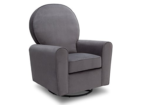 Delta Furniture Barcelona Upholstered Glider Swivel Rocker Chair, Grey Velvet Velvet Fabric Upholstered Swivel Chair