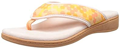 Vionic with Orthaheel Technology Womens Bliss Orthatic Slipper Sandal Yellow Dots Size 9