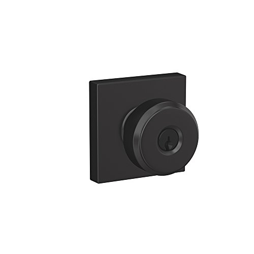- Schlage F51A BWE 622 COL Bowery Knob with Collins Trim Keyed Entry Lock, Matte Black