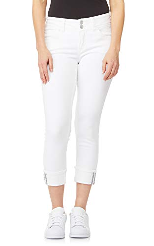 WallFlower Women's Juniors Insta Stretch Luscious Curvy Cuffed Crop Jeans in White, 5 - Stretch Cuffed Capri