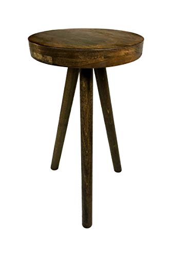 Side Table End Table Round Wood Stool by CW Furniture in Walnut Custom Handmade Barstool Bar Set Modern Minimal Simple Three Legged Accent Nightstand Hardwood
