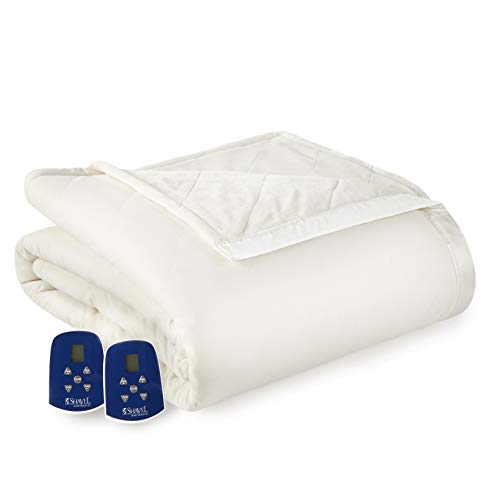 Thermee Micro Flannel Electric Blanket, Queen, Cream