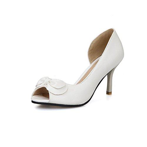 AmoonyFashion Womens Solid PU High-Heels Peep Toe Pull-on Heeled-Sandals White tIETAn