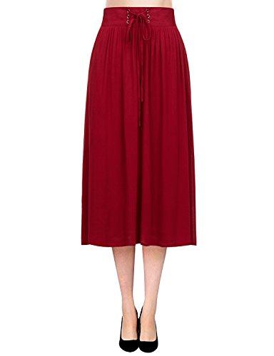 Regna X Boho for Women's Flowy Solid Color Textured Wine 3XL Plus Maternity Tall Chiffon midi Knee Length Skirt Dress