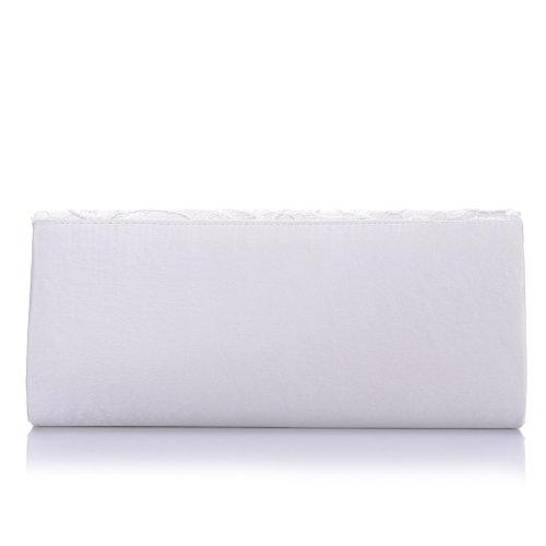 ele ELEOPTION Damen Clutch klassische Abendtasche Handtasche für Hochtzeit Party (Weiß)