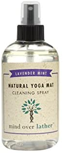 Mind Over Lather 100% Natural Yoga Mat Cleaning Spray | Larger 8 OZ Size |Works with All Mats | Cleans and Restores Using Essential Oils Naturally | Calming Lavender Mint